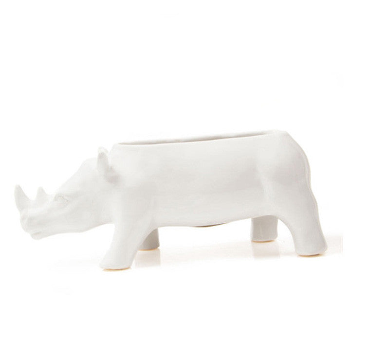 RHINOCEROS VASE white