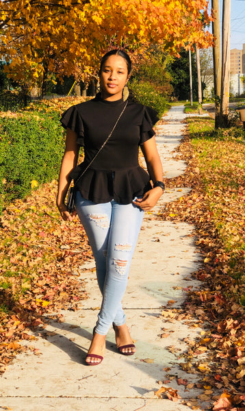 Black Ruffle Sleeve Peplum Blouse
