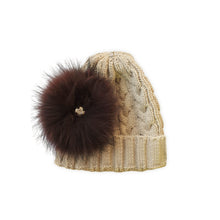 Load image into Gallery viewer, 'Tangled' Wool-blend Beanie with detachable Pom Pom