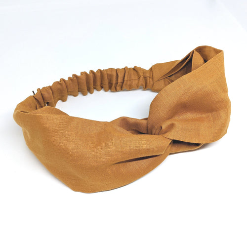 Pure Linen Twist Headband (Mustard)