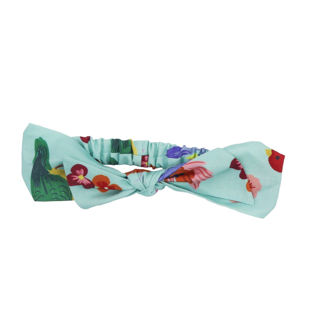 100% cotton bow headband with bird prints