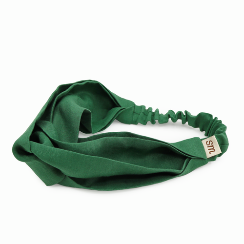 Pure Linen Twist Headband (Green)