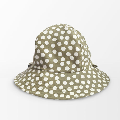 'Sage Polka Dot' (Linen) Kid Floppy Hat