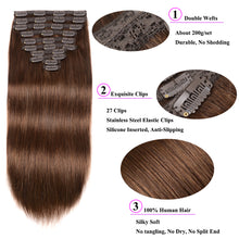 Load image into Gallery viewer, Showing Off Clip in Remy Human Hair Extensions 10 pieces Silky Straight Human Hair Clip ins - LUXE215