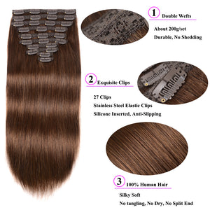 Showing Off Clip in Remy Human Hair Extensions 10 pieces Silky Straight Human Hair Clip ins - LUXE215