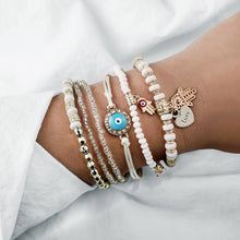 Load image into Gallery viewer, Bohemian Natural Marble Stone Beads Tassel Bracelet Set - LUXE215