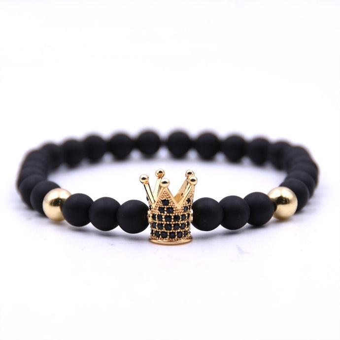 Black Natural Stone Crown Bracelet - LUXE215