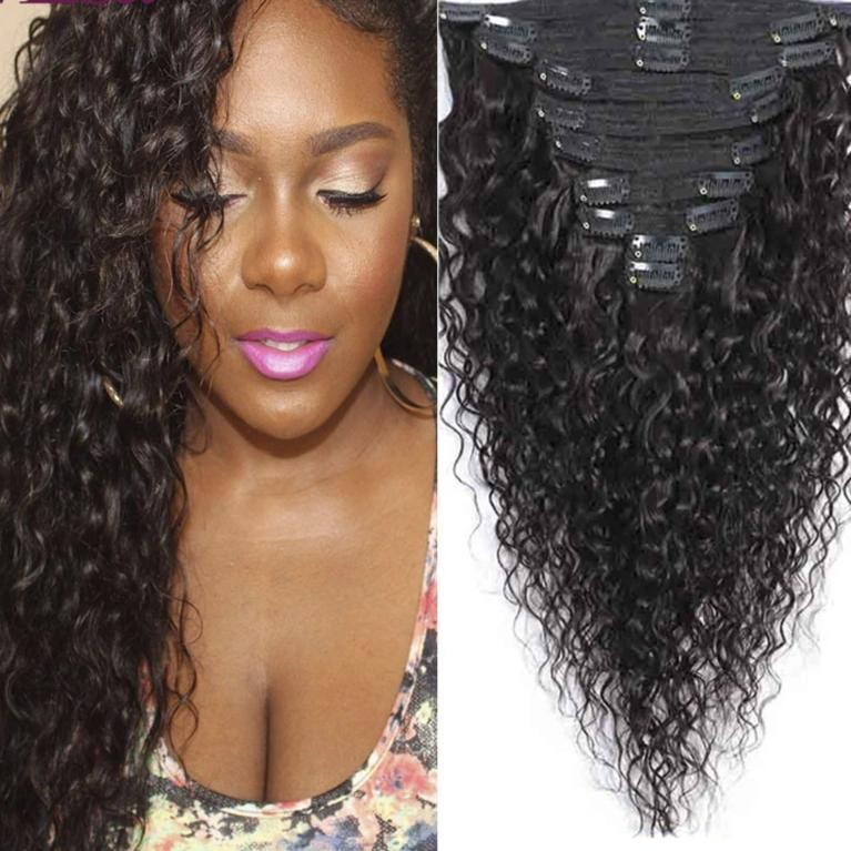 Catch The Water Wave Clip In Remy Human Hair Natural Black 8Pcs/Set 120G - LUXE215