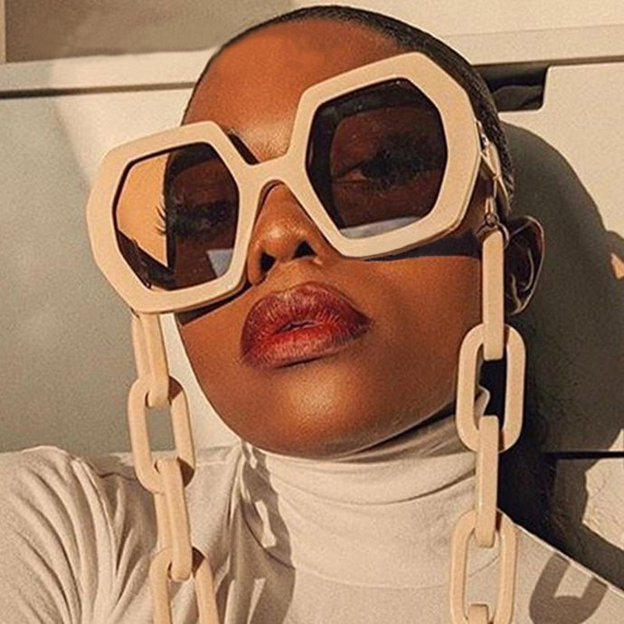 Chic Vintage Hexagon Chain Sunglasses - LUXE215