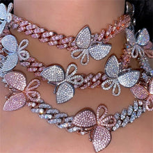 Load image into Gallery viewer, Cuban Chain Butterfly Rhinestone Choker Necklace - LUXE215