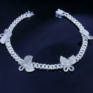 Cuban Chain Butterfly Rhinestone Choker Necklace - Two-One-Fifth Co.