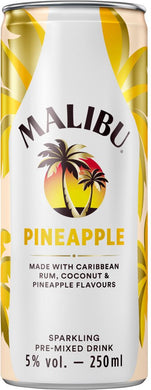 Malibu Caribbean Rum with Coconut & Pineapple Sparkling Pre-Mixed Drink 250ml