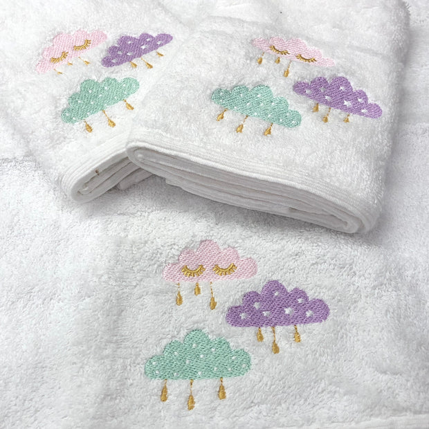 Pilbeam Jiggle & Giggle Pink Clouds Baby Embroidered 3 Face Washer Pack