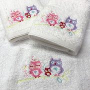 Pilbeam Jiggle & Giggle Pink Owl Baby Embroidered 3 Face Washer Pack