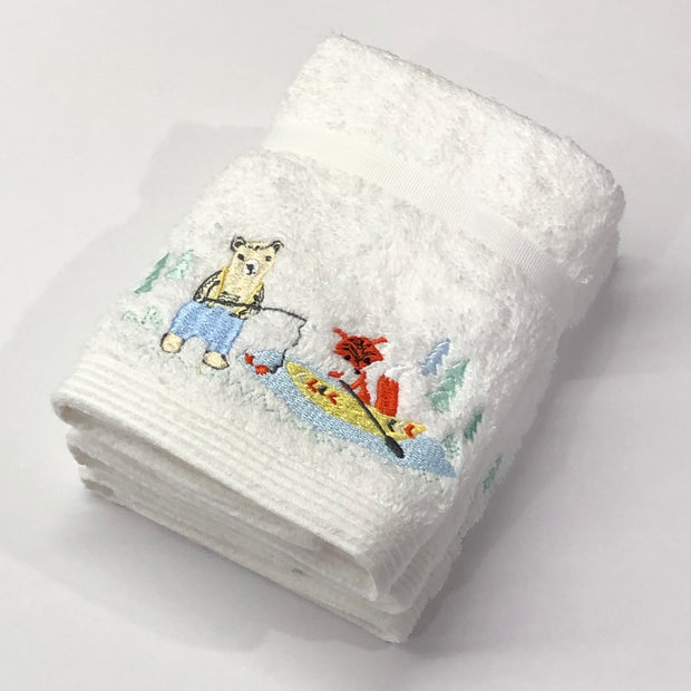 Pilbeam Jiggle & Giggle Bear & Fox Baby Embroidered 3 Face Washer Pack