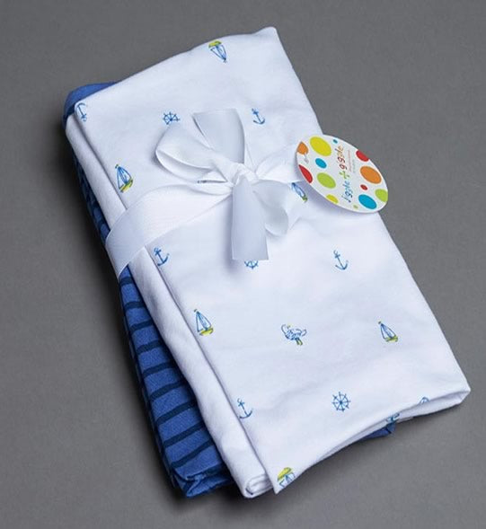 Jersey Printed & Navy Stripe Blankets by Jiggle & Giggle