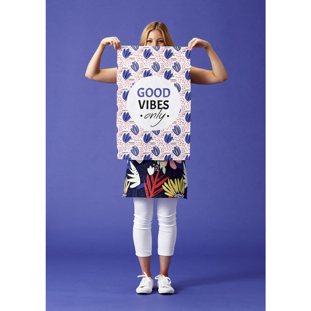 Arise Good Vibes Kitchen Towel Set of 3 Blue