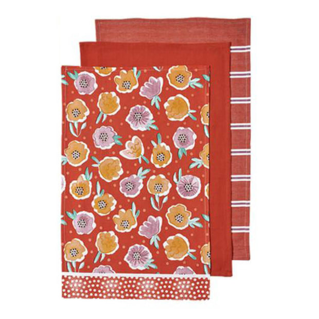 Villa Floral Kitchen Towel Set of 3 Red