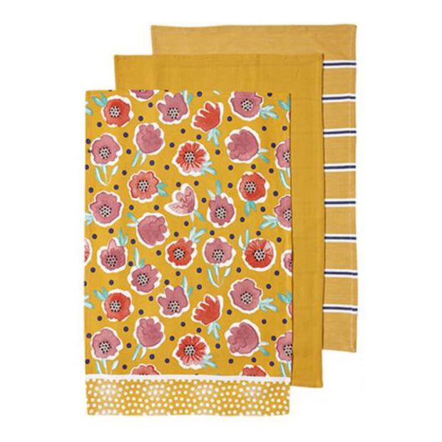 Ladelle Villa Floral Kitchen Towel Set of 3 Yellow