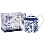 Indigo Blue Hummingbird Metallic Infuser Teapot