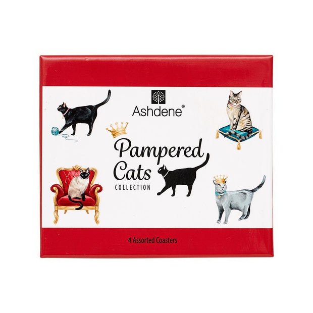 Ashdene Pampered Cats 4pk Coaster