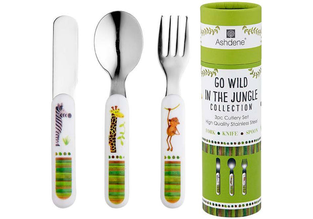Ashdene Kids Go Wild 3 Piece Cutlery Set