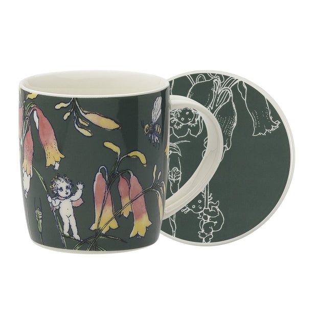 May Gibbs Flower Babies Dark Green Mug & Coaster