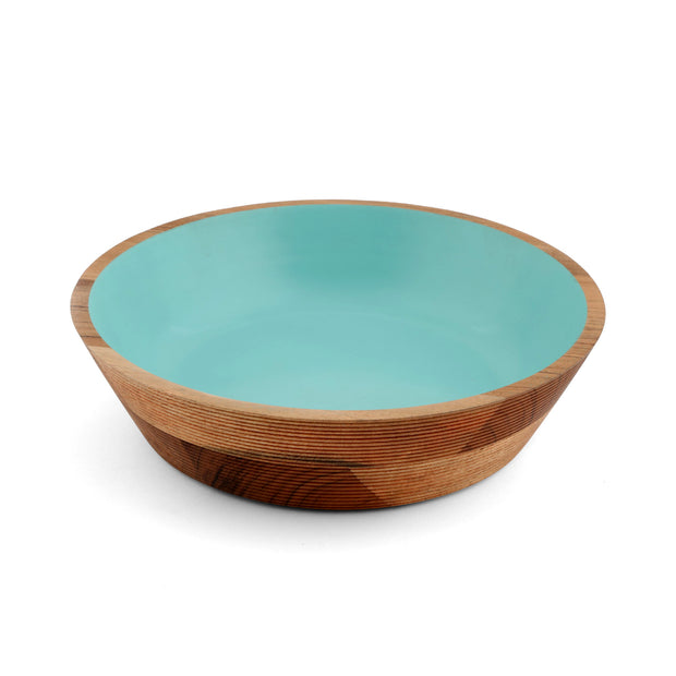 Round Etched Teal Wood Bowl