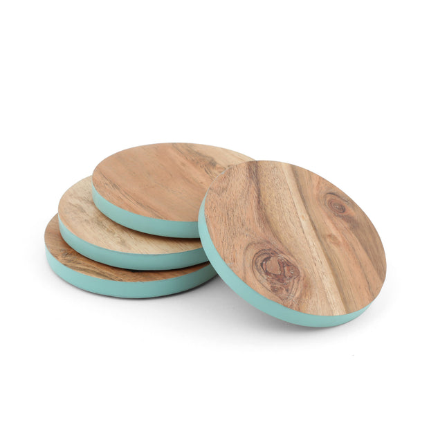 Thirstystone Teal Rim Wood Coasters