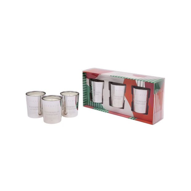Set of 3 Votive Candle Silver Gift Set - Watermelon Lemonade
