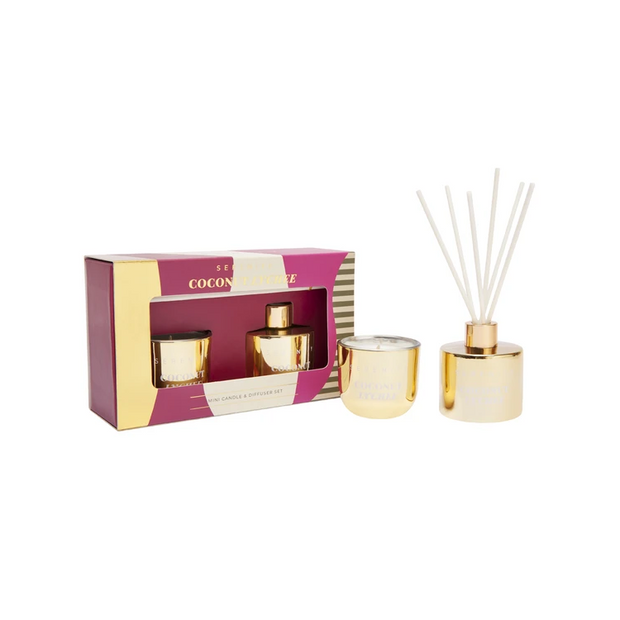 Candle & Diffuser Gold Gift Set - Coconut Lychee