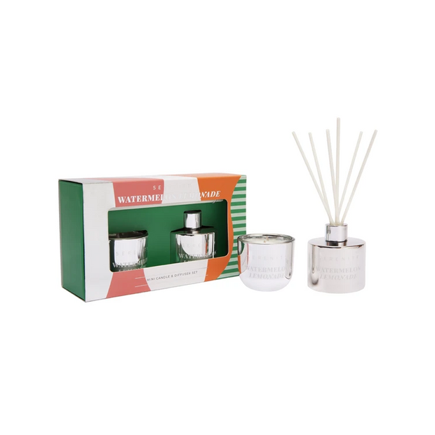 Candle & Diffuser Silver Gift Set - Watermelon Lemonade