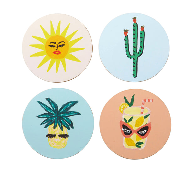 Bouffants & Broken Hearts Fruity Tropics Coasters Set/4
