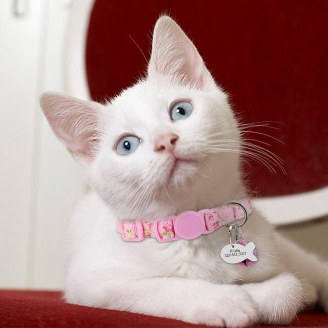 Personalized Pet Cat Collar With Bell