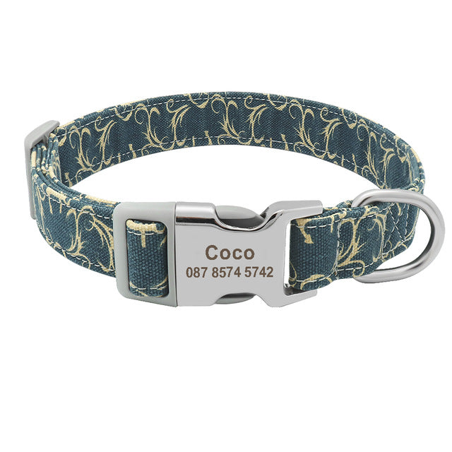 Custom Collar Nylon Floral Engraved