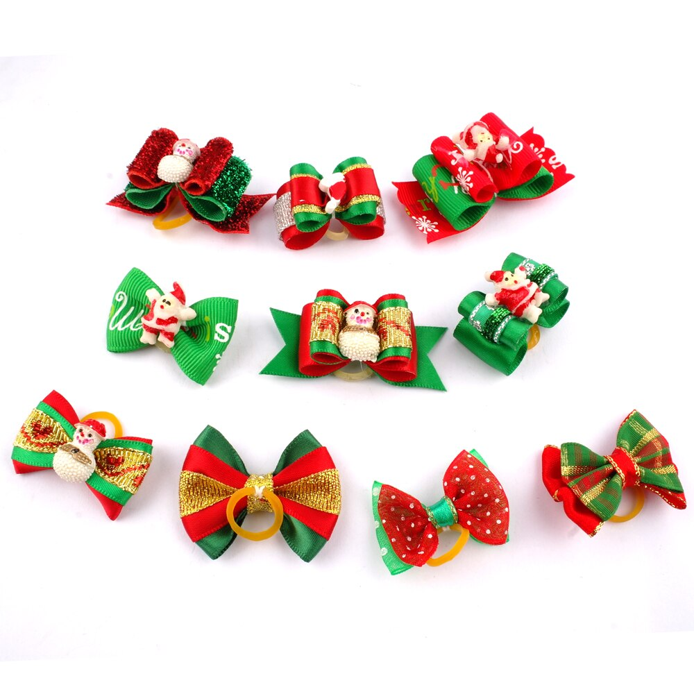 20pcs Dogs Christmas Hair Bows