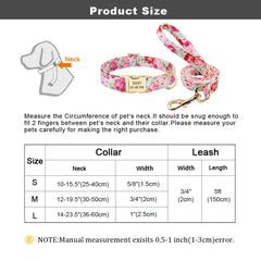 Personalized Floral Collar and Leash Set