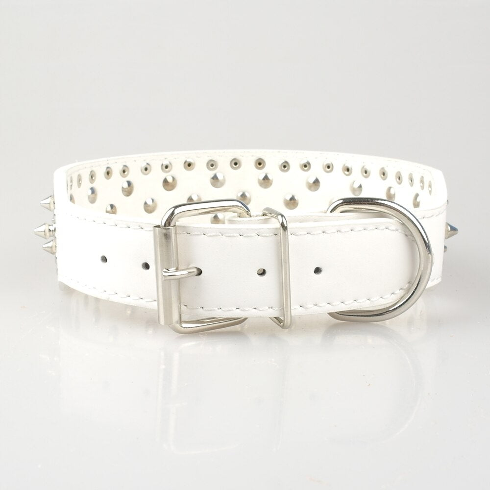 Luxury White Spiked Harness & Collar Set