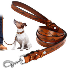 Graphical Real Leather Leash