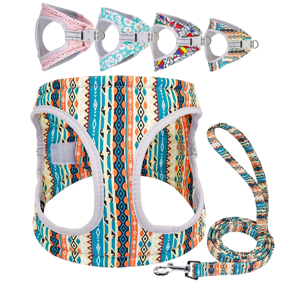 Let Me Try Reflective  Small Dog Harness Vest and Leash Set
