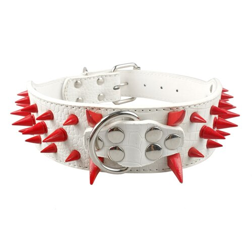 Black/Red Spiked & Studded Soft Leather Collar