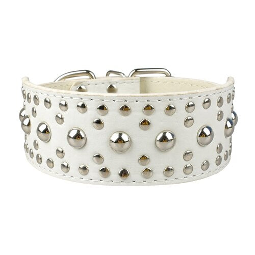 Wide Full Studded Leather Collar