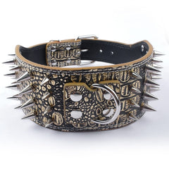 3 inch Wide Spiked PU Leather Collar