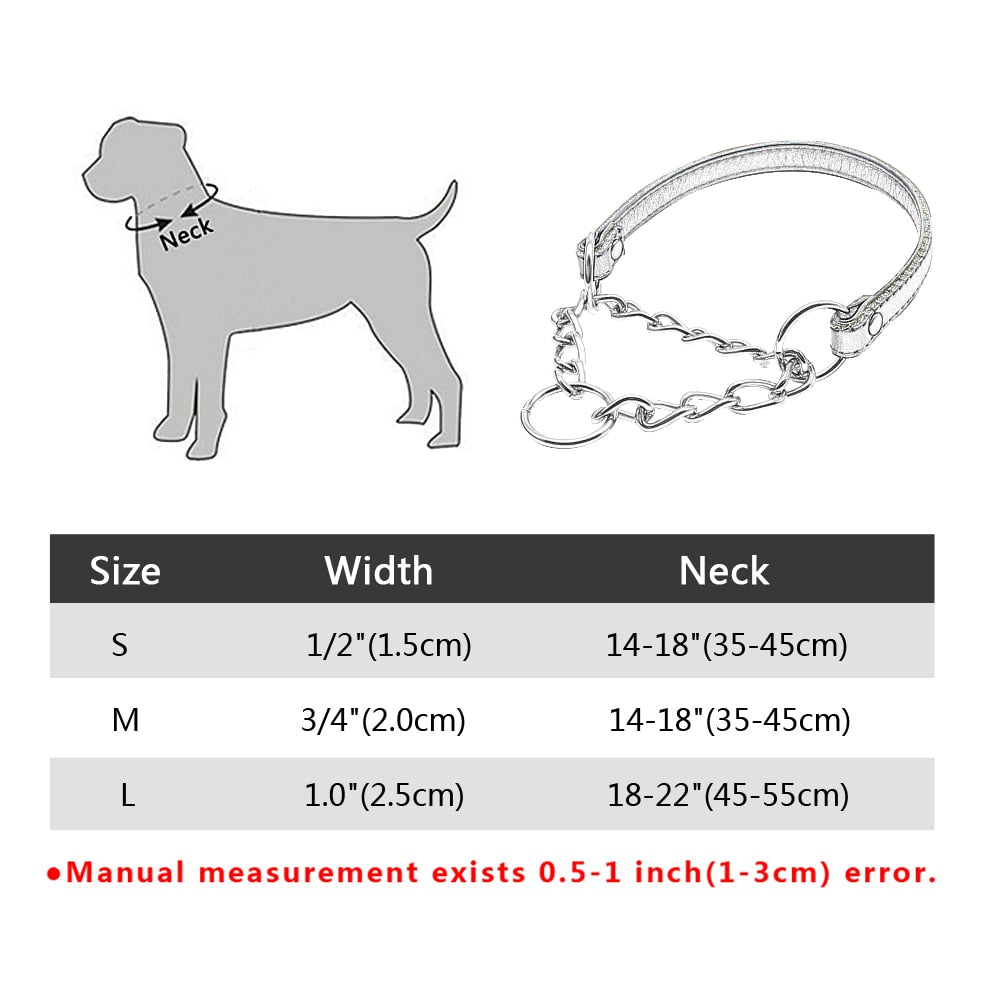 Half Choke Chain Martingale Dog Collar