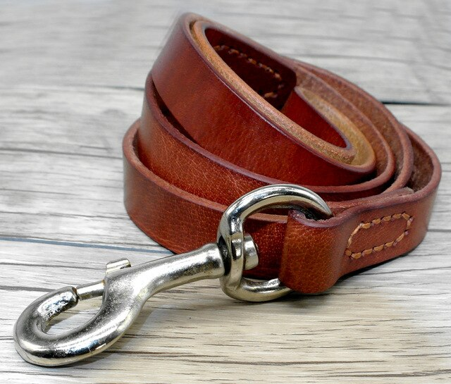 Reddy Luxury Soft Genuine Leather Collar and Leash Set