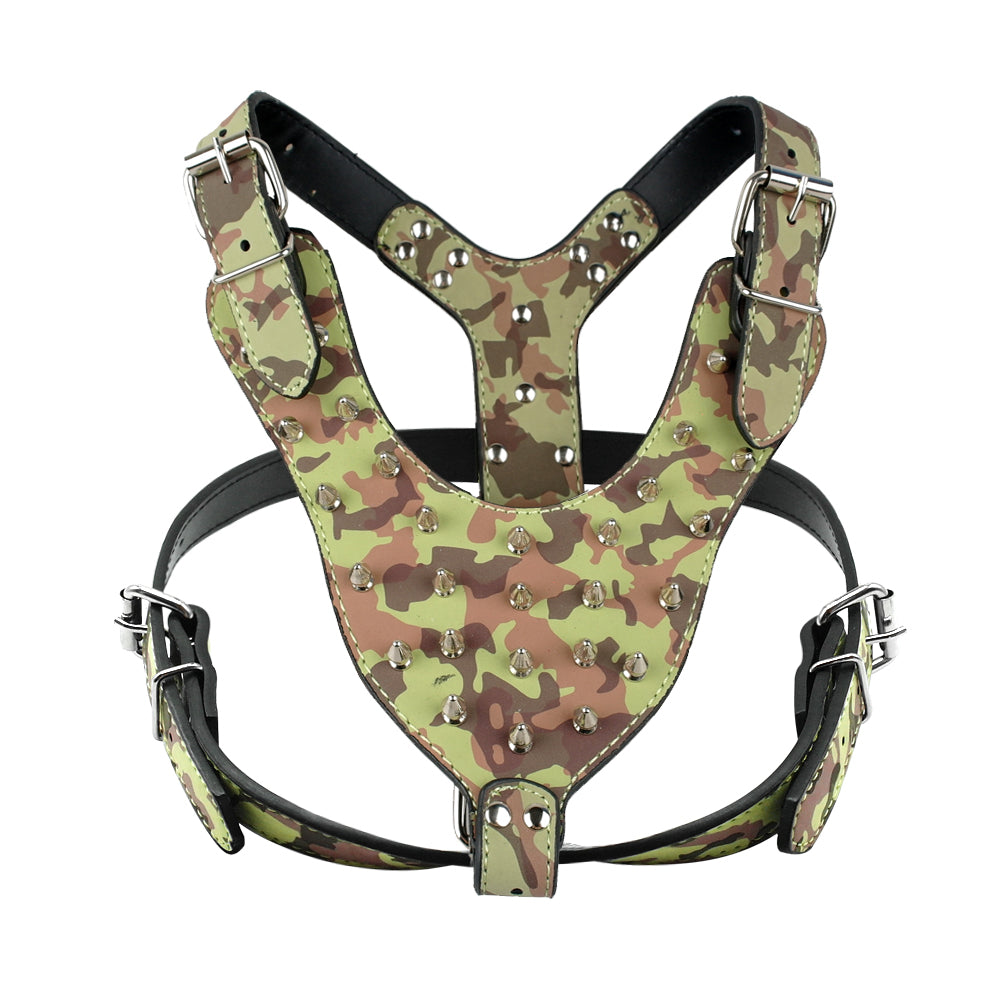 Camouflage Amy Dog Collar Harness Set
