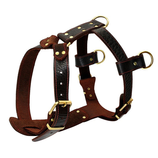 Genuine Leather Dog Harness Brown