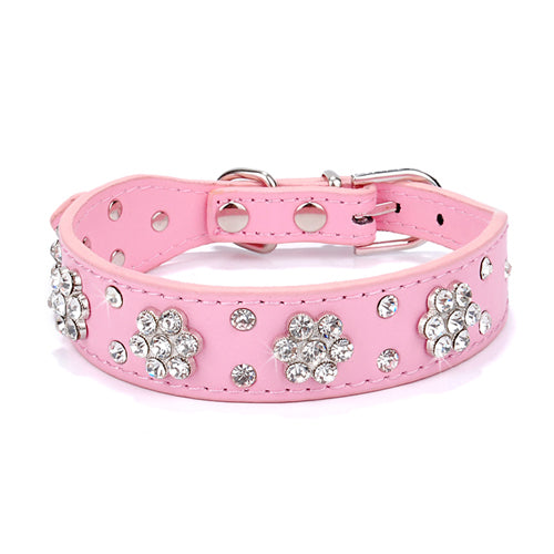 Rhinestone Studded Leather Collar
