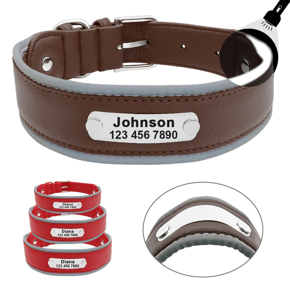 Reflective Leather Personalized Pet Collar