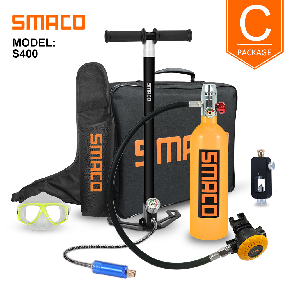 SMACO 1L Underwater Scuba Diving Kit with Air Pump